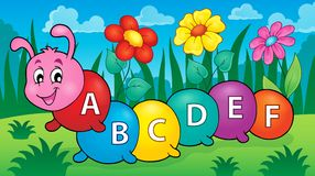 Happy caterpillar with letters theme 2. Eps10 vector illustration Stock Image