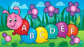 Happy caterpillar with letters theme 3. Eps10 vector illustration Stock Image
