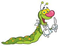 Happy caterpillar mascot cartoon character. Hungry caterpillar with a bib and silverware Stock Photography