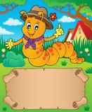 Happy caterpillar theme parchment 1. Eps10 vector illustration Stock Images