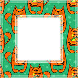 Happy cats border. Abstract border with cat and fish on a green background Stock Photos