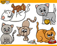 Happy cats cartoon illustration set Royalty Free Stock Image