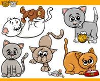 Happy cats cartoon illustration set Royalty Free Stock Image