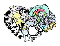 Happy cats in love doodle art Royalty Free Stock Images