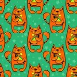 Happy cats seamless pattern Royalty Free Stock Photos