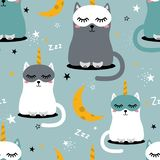 Happy cats - unicorns, stars and moon, colorful seamless pattern vector illustration