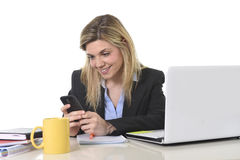 Free Happy Caucasian Blond Business Woman Working Using Mobile Phone At Office Computer Desk Stock Photography - 68509102