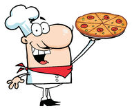 Free Happy Caucasian Chef Presenting His Pizza Pie Royalty Free Stock Images - 13641059
