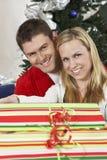 Happy Caucasian Couple With Gift Box Stock Photo