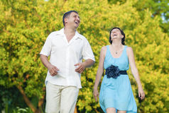Happy caucasian Couple Having Good Time Outdoors Laughing Royalty Free Stock Photos
