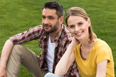 happy caucasian couple spending time together and relaxing stock photography