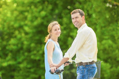 Happy Caucasian Couple Standing Together in The Park Area Outdoo Stock Photo