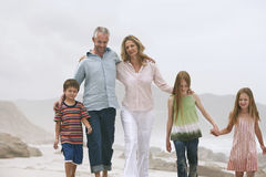 Happy Caucasian Family On Beach Stock Photography