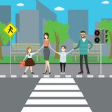 Happy caucasian family on city street,crosswalk with road sign royalty free illustration