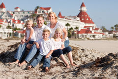 Happy Caucasian Family in Front of Hotel Del Coronado Royalty Free Stock Image