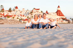 Happy Caucasian Family in Front of Hotel Del Coronado Stock Photography