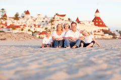 Happy Caucasian Family in Front of Hotel Del Coronado stock photography
