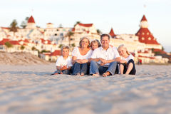 Happy Caucasian Family in Front of Hotel Del Coronado Stock Images