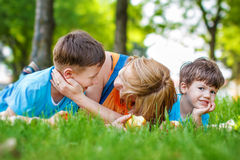 Happy caucasian family in nature Stock Images