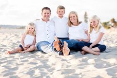 Happy Caucasian Family Portrait at the Beach Royalty Free Stock Images