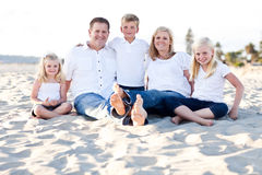 Happy Caucasian Family Portrait at the Beach Stock Image