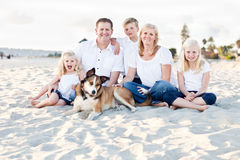Happy Caucasian Family Portrait at the Beach Royalty Free Stock Photos