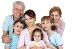 Happy Caucasian family of six stock photography