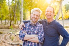 Attractive Caucasian Father Son Portrait Outdoors. Attractive Caucasian Father Son Portrait Together Outdoors royalty free stock photos