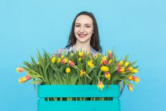 Happy caucasian female florist laughing and holding big box of tulips on blue background royalty free stock photo