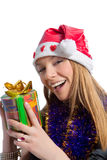 Happy caucasian female santa claus with gift box Stock Photo