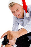 Happy caucasian man playing video games Stock Image