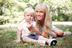 Happy caucasian mother and son Stock Images