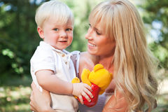 Happy caucasian mother and son Royalty Free Stock Photos