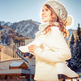 Happy caucasian teenager going to ice skating outdoor Royalty Free Stock Photos
