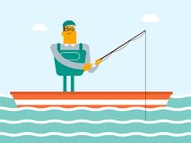 Caucasian white fisherman fishing from the boat. Happy caucasian white fisherman fishing on the lake from the boat. Man relaxing during fishing. Angler standing Royalty Free Stock Photo