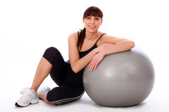 Happy caucasian woman with fitness ball Stock Photo