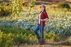 Woman gardener with spade Royalty Free Stock Images
