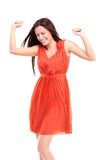 Happy caucasian woman with hands raised celebrating her victory Royalty Free Stock Images