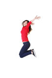 Happy caucasian woman jumping in the air Stock Photos