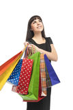 Happy Caucasian Woman with Shopping Bags Stock Photo