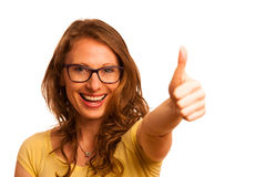 Happy caucasian woman showing thumb up as a sign of success Royalty Free Stock Image