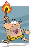 Happy Caveman Character Running With A Torch Stock Images