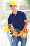 Happy cctv installer. Happy cctv system installer with tools Stock Photography