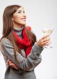 Happy celebrate woman portrait isolated on white Stock Image