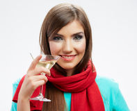 Happy celebrate woman portrait  on white Stock Images