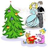 Happy celebrating family. Illustration of happy celebrating family Royalty Free Illustration