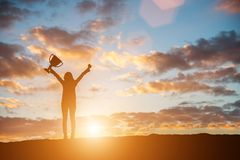 Free Happy Celebrating Winning Success Woman At Sunset. Silhouette Of Stock Photography - 113734222