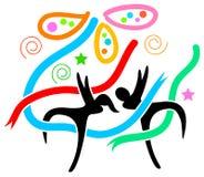 Happy celebration. Isolated line art cartoon image Stock Photography