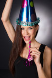 Happy Celebration Attractive Adult Woman Noise Maker Party Hat Royalty Free Stock Image