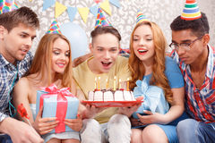 Happy celebration of a birthday Royalty Free Stock Photos